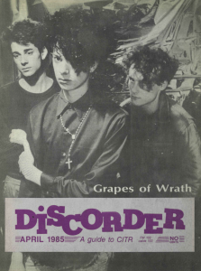 A Discorder magazine cover, circa 1985, featuring Grapes of Wrath.