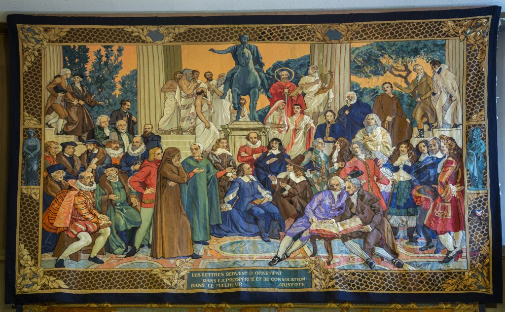 "The ""Masters of the Spirit"" tapestry depicts some of the most prolific thinkers in history."