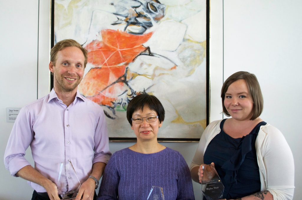 Jeremy Buhler, Phoebe Chow, and Meghan Waitt are recognized for their exemplary contributions to UBC Library.