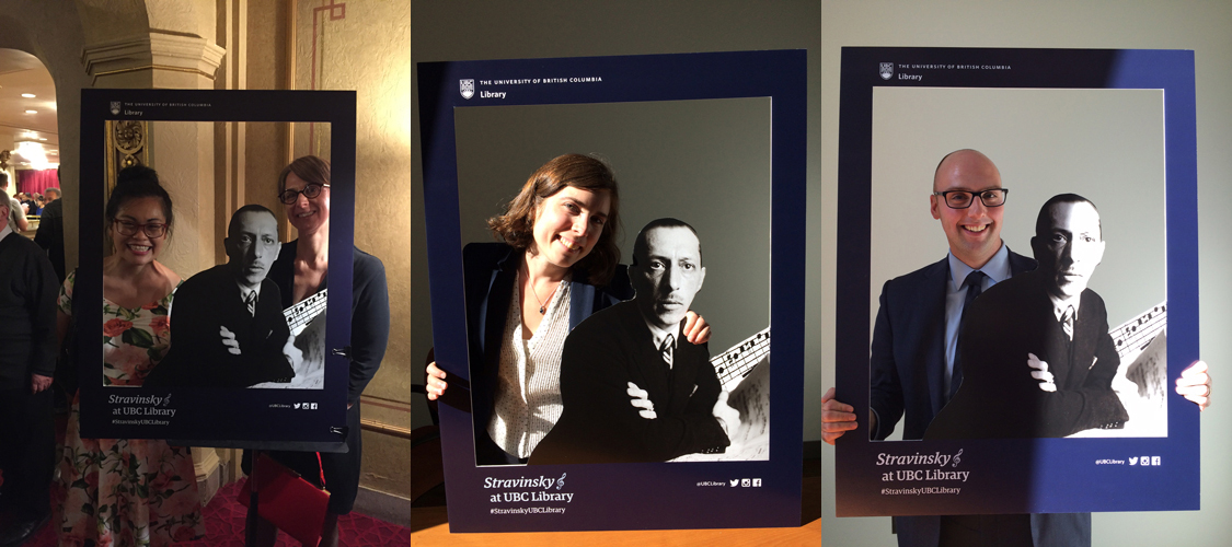 Library employees posing with Stravinsky.
