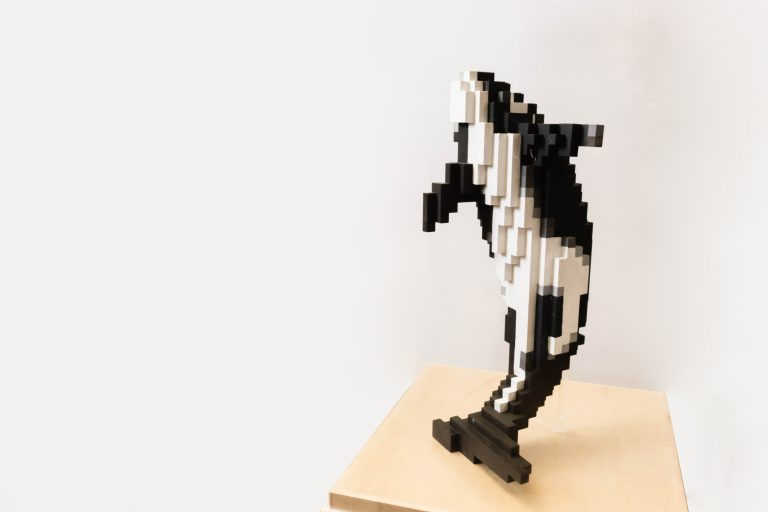model of digital orca sculpture by Douglas Coupland