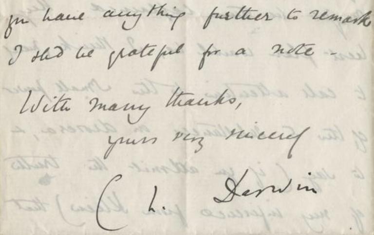 Letter written by Charles Darwin