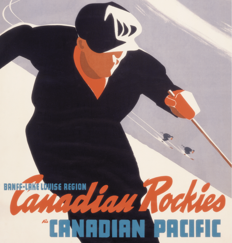 Banff Lake Louise Region Canadian pacific railway ad with illustration of a skier