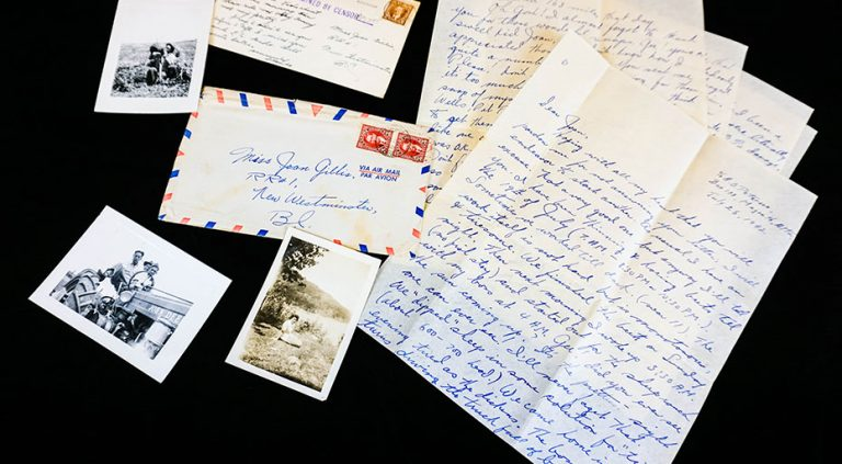 Photos of letter, postcard and photos