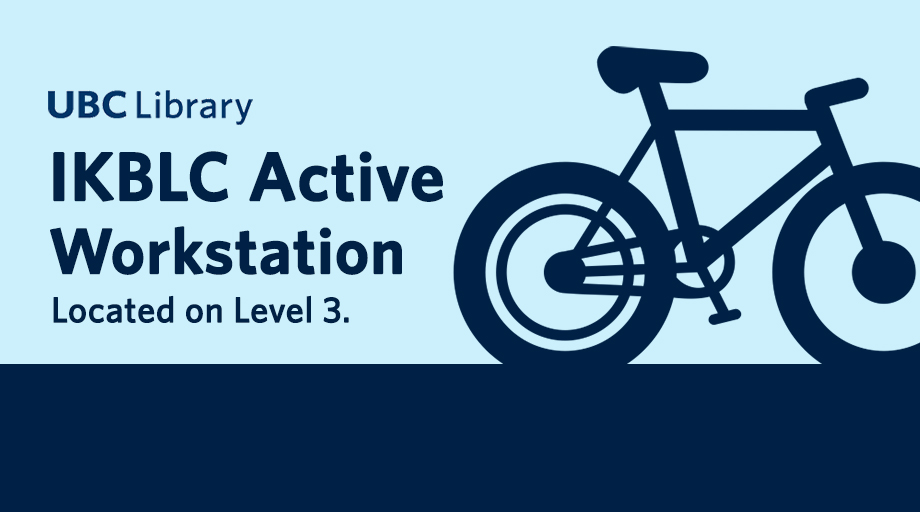 graphic with a simple blue bicycle icon and text IKBLC Active Workstation located on Level 3